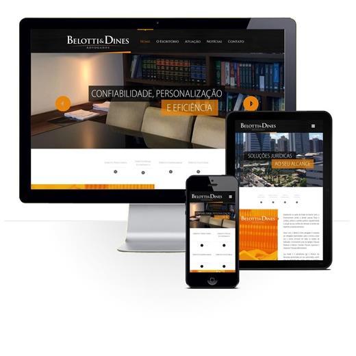Layout responsivo do projeto de criação de sites: Comportamento responsivo do site - Belotti & Dines Advogados