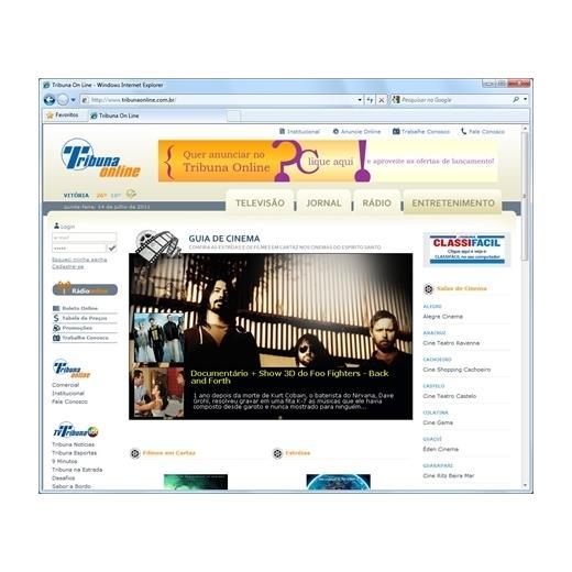 Layout responsivo do projeto de criação de sites: Página de entretenimento - Cinema