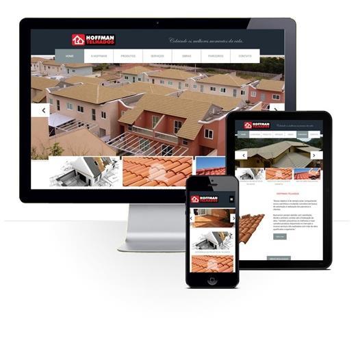 Layout responsivo do projeto de criação de sites: Comportamento responsivo do site - Hoffman Telhados