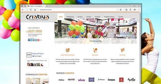 Criação de sites - Criativa Promoções e Eventos